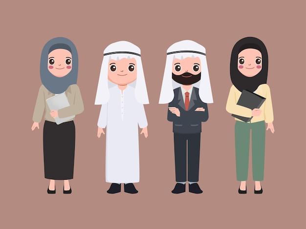 Personas de carácter árabe y musulmán en estilo plano.