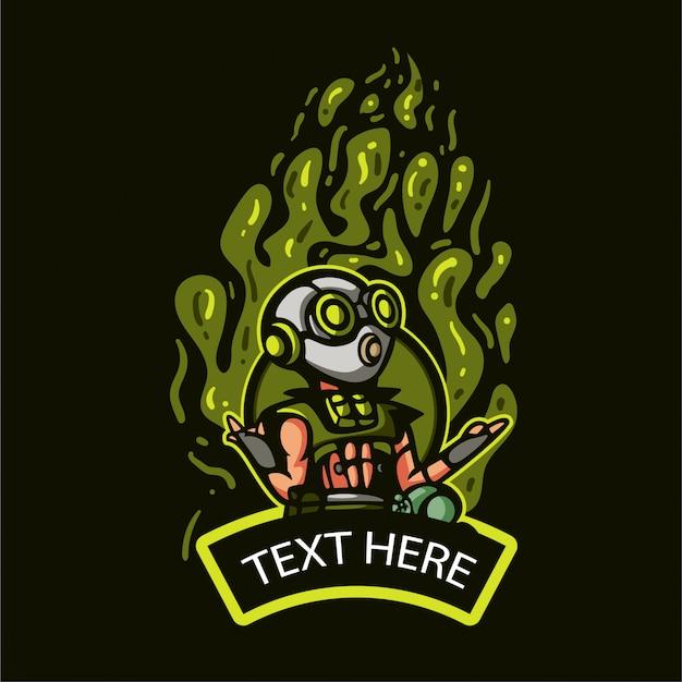 Personas de carácter mascota de gas tóxico