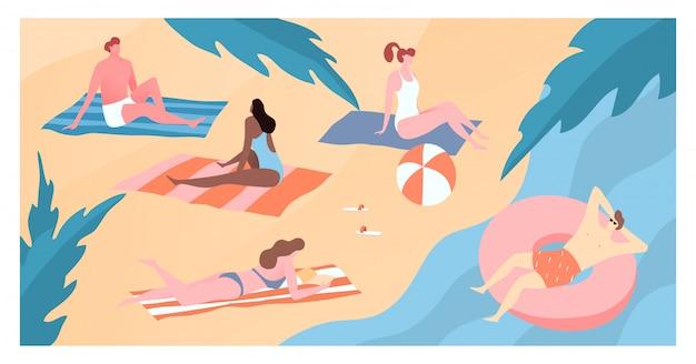 Las personas de carácter moderno viajan a la orilla del mar caliente, la ilustración de la playa de arena de los bañistas hombres y mujeres. área de descanso tranquilo.