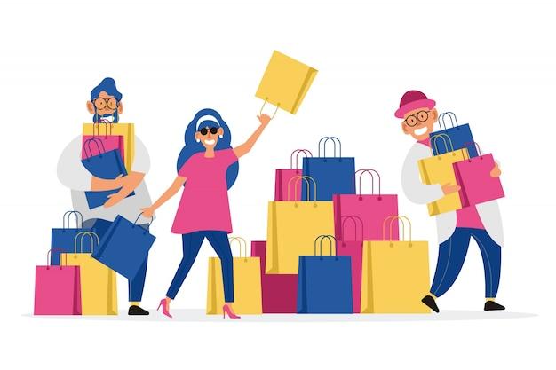 Personas cargando bolsas de la compra.