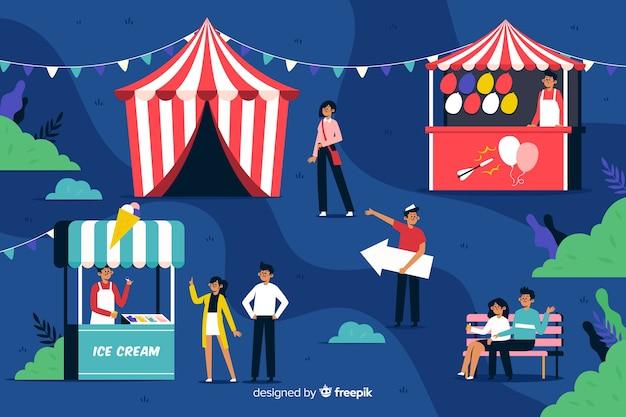 Personas en el carnaval nocturno en diseño plano