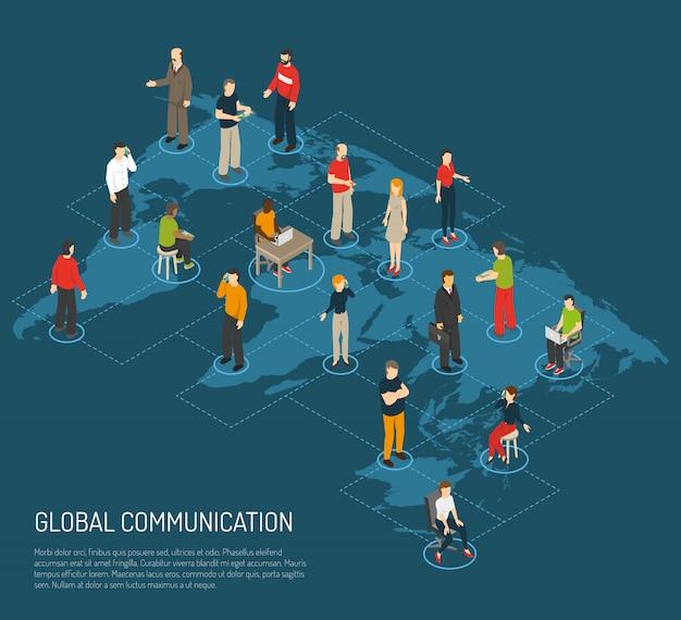 Personas del cartel de la comunicación global.