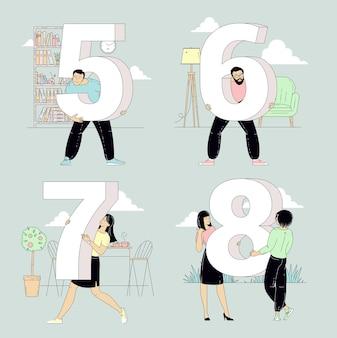Personas con carteles de números en varios fondos interiores y exteriores