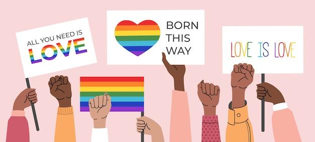Personas con carteles, símbolos, carteles y banderas lgbt con arco iris, mes del orgullo. derechos humanos, el amor es amor.