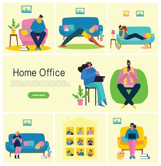 Personas en casa en cuarentena. trabajando en casa, espacio de coworking, seminario web, ilustración de estilo plano de concepto de videoconferencia
