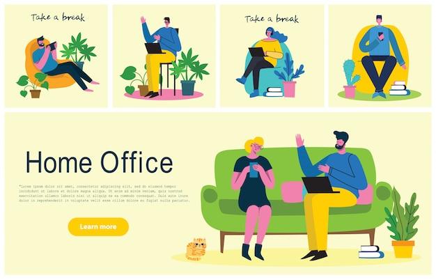 Personas en casa en cuarentena. trabajo en casa, espacio de coworking, seminario web, ilustración de estilo plano de concepto de videoconferencia