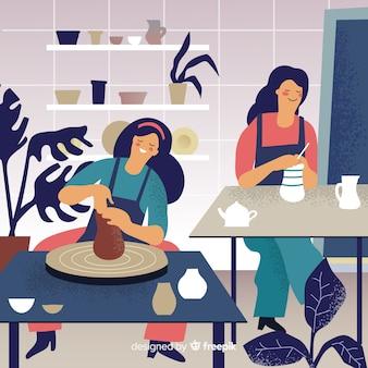Personas en casa haciendo alfarería