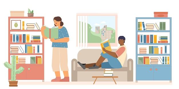 Personas en casa leyendo libros que están en los estantes.