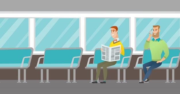 Personas caucásicas que viajan en transporte público.