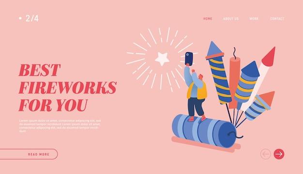 Personas celebrando año nuevo o fiesta de cumpleaños feliz para diseño web, banner, aplicación móvil, página de destino. carácter de hombre viendo la explosión de cohetes de fuegos artificiales, celebrando.