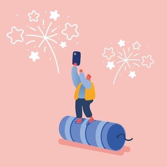 Personas celebrando año nuevo o fiesta de cumpleaños feliz. personajes de hombres y mujeres lanzando y viendo la explosión de cohetes de fuegos artificiales, celebrando las fiestas.