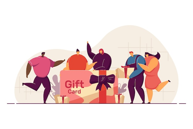 Personas celebrando el evento, dando y recibiendo regalos.