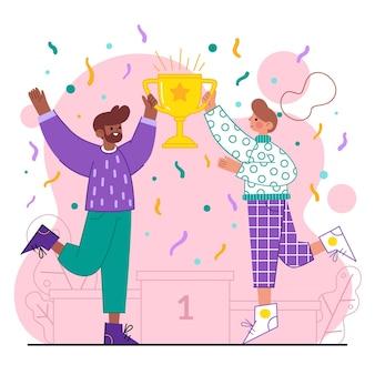 Personas celebrando el logro de un objetivo y sosteniendo un trofeo.
