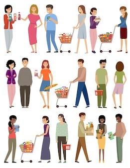 Las personas con cestas de supermercado y carros sobre un fondo blanco.