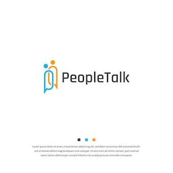 Personas con chat burbuja hablar logo icono diseño plantilla vector