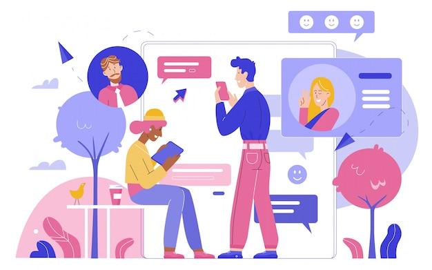 Personas chateando por gadgets en la ilustración plana de la red social. comunicación en línea, burbujas de chat de negocios, mensajes de amor, página de perfil, redes sociales y concepto de marketing digital