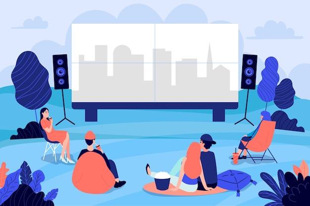 Personas en un cine al aire libre ilustrado.
