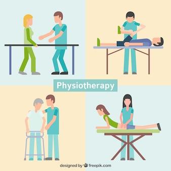 Personas en clínica de fisioterapia dibujadas a mano