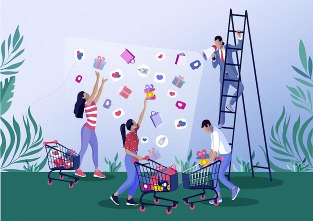 Personas cogiendo regalos, bolsa de compras, iconos de corazón.