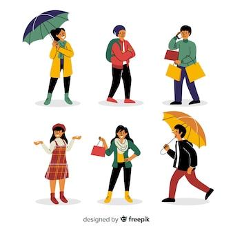 Personas con colección otoño de ropa