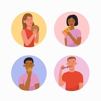 Personas con comida diferente