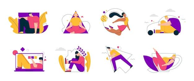 Las personas completan varias formas geométricas. los hombres y las mujeres están dentro de un cuadrado, triángulo, círculo, flecha, silueta de automóvil, computadora portátil, casa, taza
