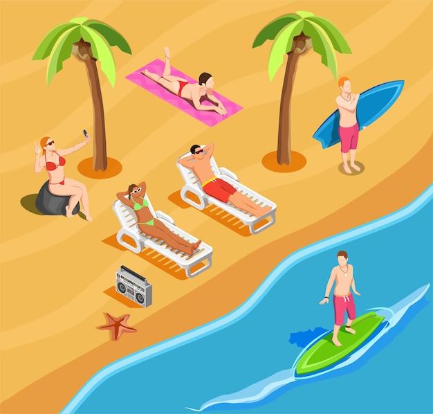 Personas en composición isométrica de vacaciones en la playa con autorretrato tomando el sol y practicando surf