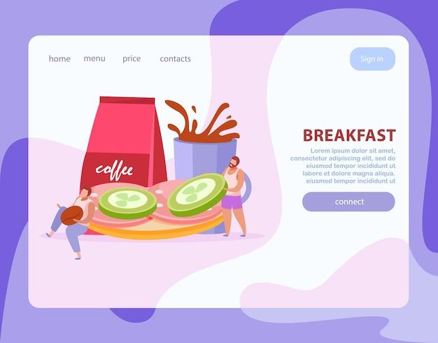 Personas con composición plana de desayuno o página de destino con enlaces y botón de conexión