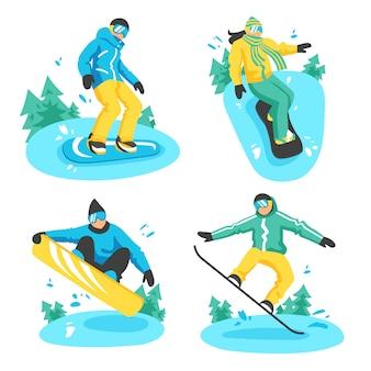Personas en composiciones de snowboard