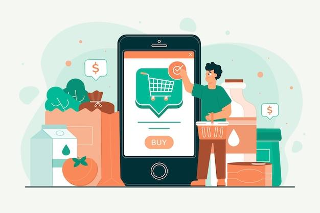 Personas comprando comestibles en línea