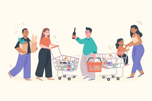 Personas comprando comestibles para uso diario