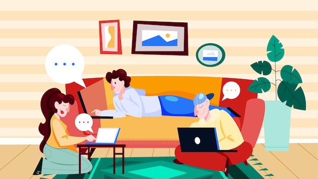 Personas con computadora portátil en casa. carácter que trabaja en el cuaderno. mujer en el escritorio, autónomo en el sofá. ilustración de dibujos animados