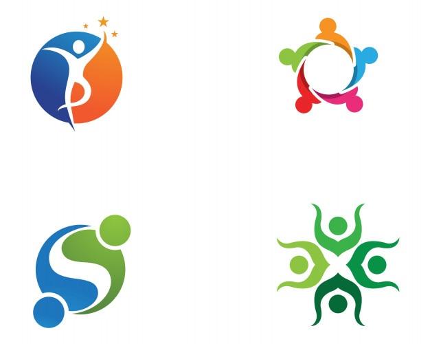Las personas de la comunidad cuidan el logotipo y los símbolos