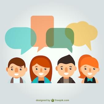 Personas con burbujas de conversación