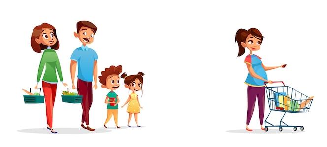Personas con carritos de compras, familia con niños y mujer embarazada en el supermercado