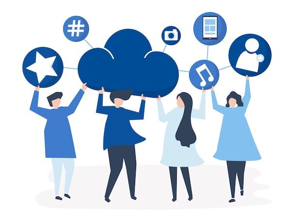 Personas con iconos de redes sociales y nube