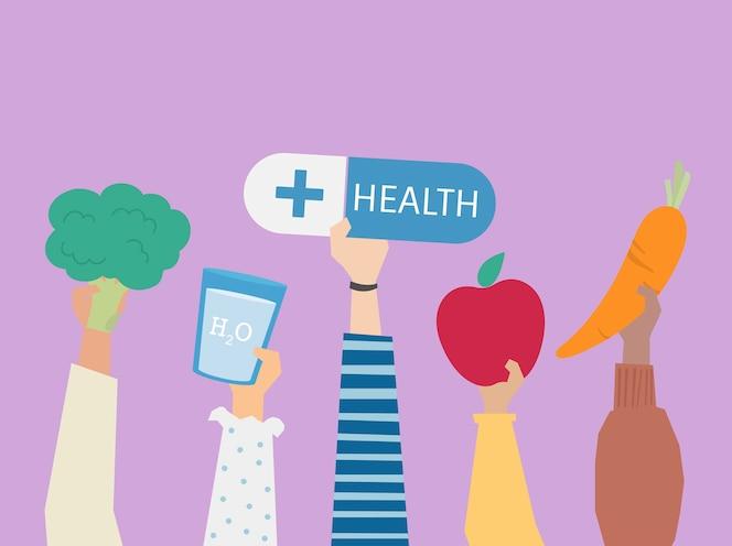 Personas con la ilustración de símbolos de salud