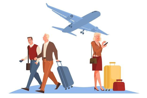 Personas en el concepto de aeropuerto. idea de viajes y vacaciones. llegada del avión. ilustración