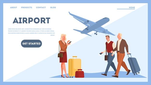 Personas en el concepto de banner web de aeropuerto. idea de viajes y vacaciones. llegada del avión. ilustración