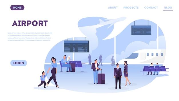 Personas en el concepto de banner web de aeropuerto.
