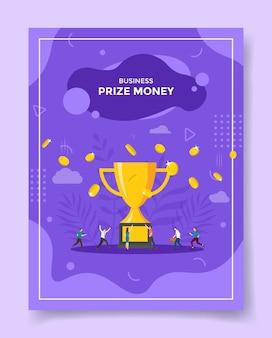 Personas de concepto de dinero de premio alrededor de dinero de trofeo grande caen