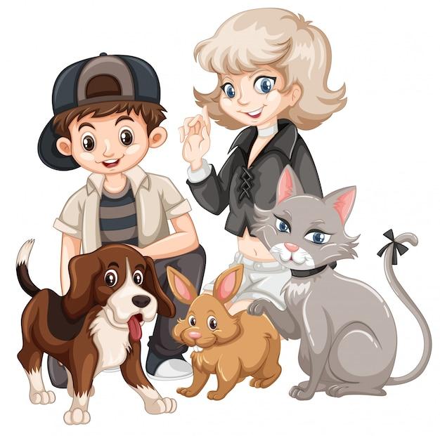 Personas con concepto de mascotas.