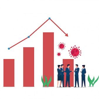 Las personas de concepto plano de negocios se encuentran cuando el virus corona influye en la pérdida de acciones y mercado.