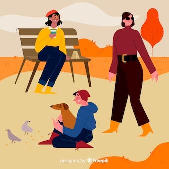 Personas con concepto de ropa de otoño