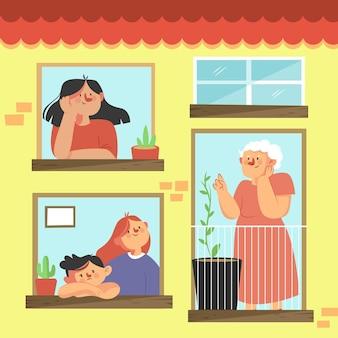Personas en concepto de windows