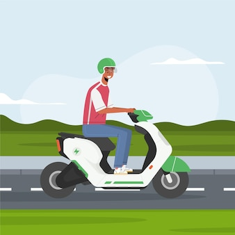 Personas conduciendo scooter eléctrico