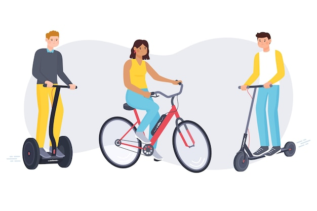 Personas conduciendo transporte eléctrico