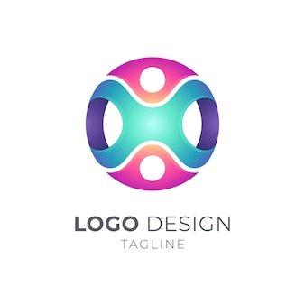 Personas conectan plantilla de logotipo