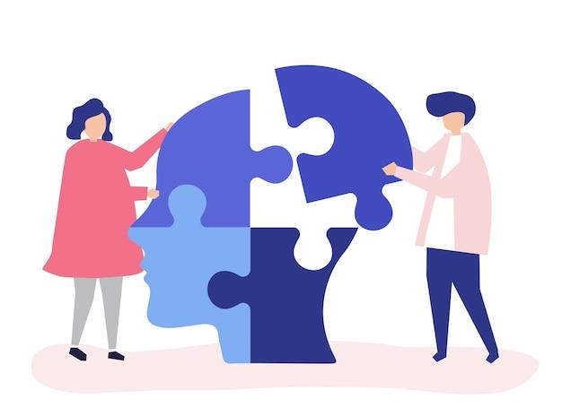 Personas conectando piezas de rompecabezas de una cabeza juntos