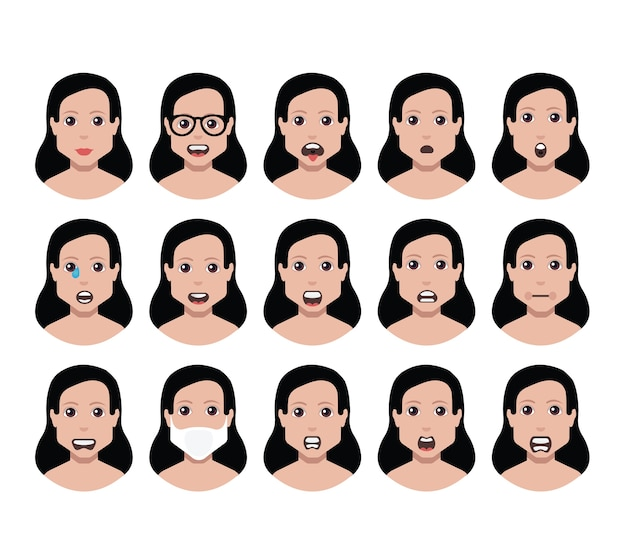 Las personas configuran el perfil de avatar con diversas caras (uso para redes sociales)